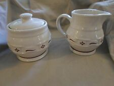 Longaberger Pottery Woven Tradition Ivory/Red Creamer Sugar Bowl w Lid