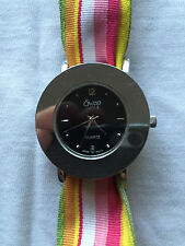 Swap Quartz Black Dial Silver Tone Case Ladies Watch