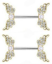 Body Accentz® Nipple Ring Angel Wings bar body Jewelry sold as Pair 14g Faux Pea