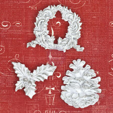 "Prima - Holiday Jubilee Christmas Collection ""Resins"" Holy, Pinecone & Wreath!!"