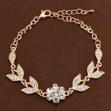 Wedding Bracelet 10KT Yellow Gold Filled Flower Leaf Crystal Women Bangle Bridal