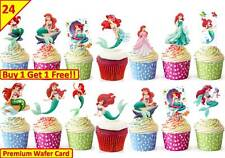 48 Little Mermaid Cup Cake Wafer Rice Toppers Birthday Party Edible STAND UP 5cm