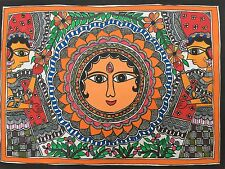 Madhubani mithila dipinto 'DEA DEL INDIAN Tribal FOLK FINE ART fatto a mano