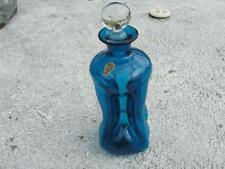 Vtg Art Glass Teal - Holmegaard Kastrup Denmark Pinched Glass Decanter