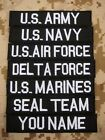 Black Chest Tapes Custom name Tapes ARMY NAVY  SEAL  Embroidery Velcro Patch