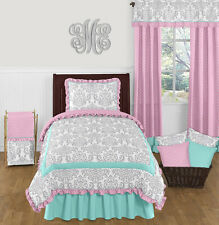 SWEET JOJO DESIGNS TURQUOISE BLUE PINK & GRAY DAMASK GIRL TEEN TWIN BEDDING SET