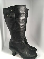Clarks Indigo Black Leather Tall Boots Women's Sz 9.5