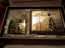 Vintage Sun pearl Lighter & Cigarette case in box not used .new old stock