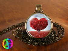 Red Heart Tree of Love Necklace Pendant Jewelry Valentine's & Mother's Day Gift