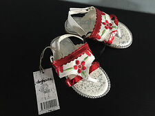 BNWT Little Girls Sz 8 Cute Red/White Sparkle Rivers Doghouse Strappy Sandals