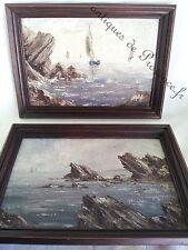 Superbre paire ancien peintures tableaux marines bord de mer signé cadre bois