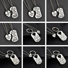 2Pcs Silver Heart Love Keychain & Necklace Daughter Dad Mother Family Best Gifts