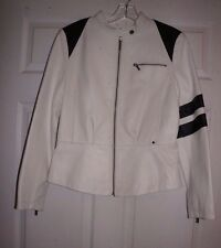 Black Rivet White & Black Leather Cafe Racer Jacket M ladies