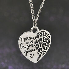 Modern Family Love Necklace Mother and Daugther Forever Silver Heart Pendant