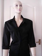 New Size 20 Stretch satin fabric black top blouse 3/4 length sleeves