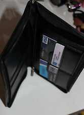 NEW PURE LEATHER BLACK LONG WALLET CREDIT CARD ID HOLDER PURSE MONEY BAG SECURE