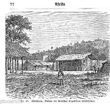 Chinchoxo Station der Dt. Afrikan. Ges. 1881 orig. Xylographien Faktorei Cabinda
