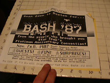 BASH 1987 Boston 2 info sheets, flyers, Cambridge Ma