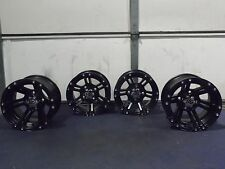 ITP SS212 BLACK ATV WHEELS SET 4 WITH CENTER CAPS & LUGS LIFE WARRANTY SRA1CA