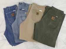 Lot of 4 CARHARTT B11 + B13 Vintage Denim Duck Dungaree Fit Work Pants (34x32)