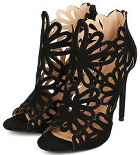 Black / Red Floral Cut Out Open Toe Bootie Heels, US 6 - 10