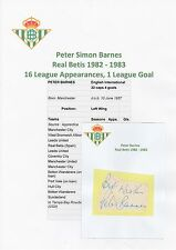 PETER BARNES REAL BETIS (SPAIN) 1982-1983 ORIGINAL HAND SIGNED CUTTING/CARD
