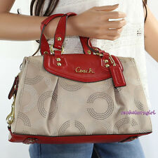 NWT Coach Ashley OP Art Dotted Signature Satchel Shoulder Bag F20027 Khaki Red