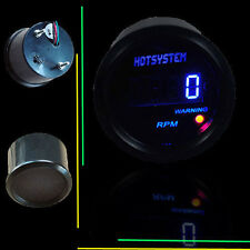 "BLACK 2"" 52mm BLUE DIGITAL LED READOUT 0-9999 RPM TACHOMETER TACHO GAUGE SL14"