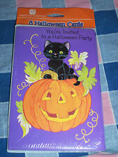 Older American Greetings 8 Halloween Cards  Black Cat on Jack-O-Lantern