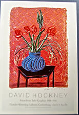 David Hockney Floral Poster- Bowl of Flowers on Chair-Unsigned 14x10