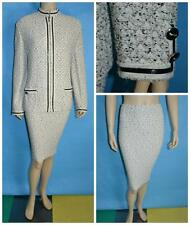 ST JOHN COLLECTION TWEED Black Cream JACKET & SKIRT XL L 14 16 2pc Suit Buttons