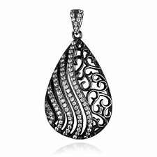 0.5ct 21mm Stunning Teardrop CZ Pendant Solid Sterling Silver Black Gold Plated