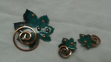 vtg  Matisse Renoir green enamel leaf copper  pin brooch clip on  earrings set