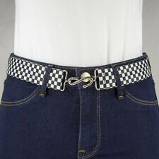Black and White Chequered Elastic Belt Made in UK