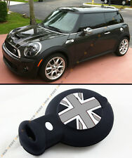 BLK GREY UNION JACK 3D SILICONE CASE COVER FOR MINI COOPER SMART CAR KEY FOB