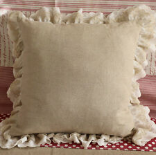Ruffled Linen Lace Cushion Pillow Cover Shabby Chic Farmhouse French Ruffle