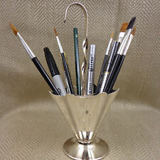 Vintage Pen Brush Pot Holder Cocktail Stick Stand Umbrella Novelty Silver Plate