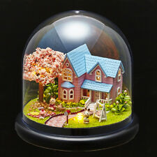 Mini Glass DIY Wooden Dollhouse Kit all Furniture&LED light / Music Box Cherry