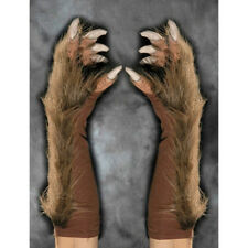 REALISTIC BROWN Werewolf Gloves Unisex Adult Mens Faux Fur Hands Claws Were Wolf