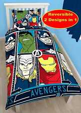 MARVEL AVENGERS TECH SET HOUSSE DE COUETTE SIMPLE GARÇONS HULK THOR IRON MAN