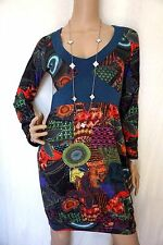 DISIGUAL Boho Hippie Blue Print fitted mini TUNIC-Dress S with pockets