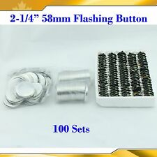 "2-1/4"" 58mm 100Sets Flashing Shine Light Badge Button Parts for Maker Machine"