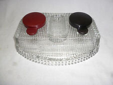ANTIQUE GLASS & BAKELITE DESK TOP INK WELL SET / PEN HOLDER / PIN TRAY - vgc