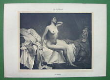 NUDE Young Woman in Bed Just Awoken - VICTORIAN Lichtdruck Antique Print