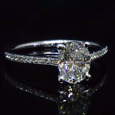 Real 1.65 Ct Oval Cut Diamond Round Pave Engagement Ring G,VVS2 GIA 18K WG New!