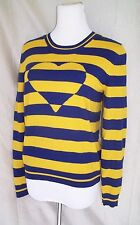 LOVE MOSCHINO BLUE YELLOW STRIPED WOOL BLEND HEART SHAPED SWEATER TOP SIZE S/M