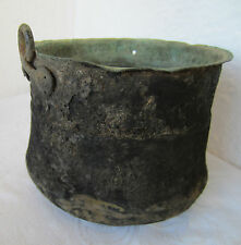EARLY Antique old  KETTLE  CAULDRON POT copper  metal, patina