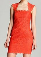 $450 New Coral Auth Designer Nicole Miller Stretch Lace Club Cocktail Dress L