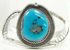 Sterling Silver Turquoise Cuff Bracelet Leaves Southwestern Handcrafted 7.5""