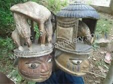 African Tribal - 3684/8 PAIR OF OUTSTANDING YORUBA GELEDE HELMET MASKS, NIGERIA
